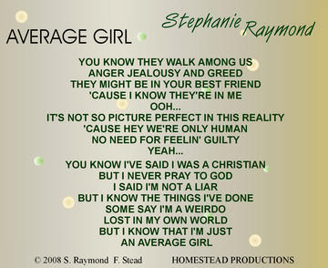 Average Girl, by Stephanie Raymond on OurStage