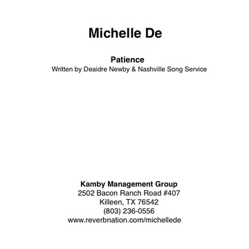 Patience, by Michelle De & Nashville Song Service featuring Holly Simms on OurStage