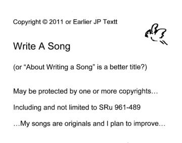 Write a Song (c)JP Textt SRu 961-489, by JP Textt on OurStage